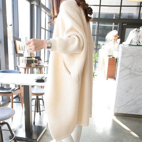 Long Cardigan Bat Sleeve Knitted Sweater Plus Size Jacket