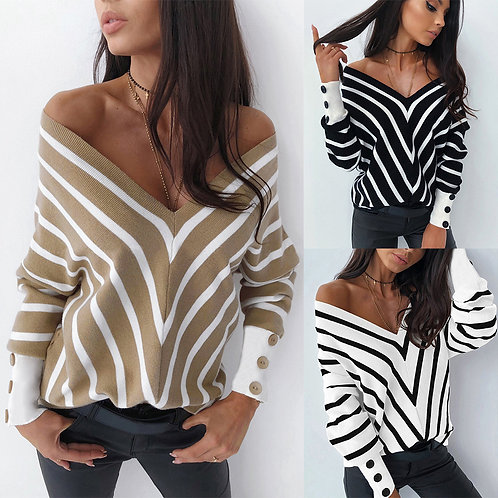 Off-Shoulder Striped V-Neck Knit Sweater Plus Size Sweaters