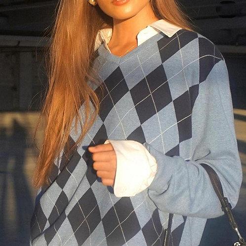 Diamond Argyle Sweater Vintage Tops for Women