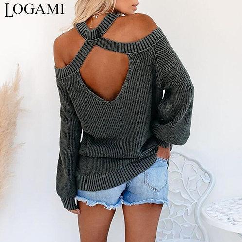 LOGAMI Hanging Neck Off Shoulder Loose Pullover Woman