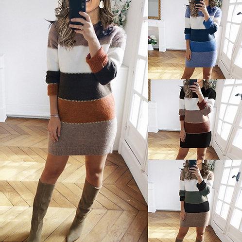 Women's Knit Sweater Sexy Mini Dress