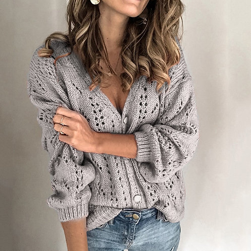 Women buttoned Sweater Cardigan Hollow V-Neck Sweater