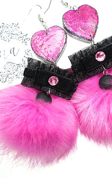 Swarovski NATURAL Bright Pink & Black wooden earrings with Lapin pom-pom