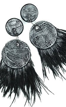Swarovski Black & Silver feather wooden pin earrings