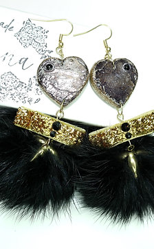 Glamour Swarovski NATURAL Black & Gold wooden earrings with Lapin pom-pom