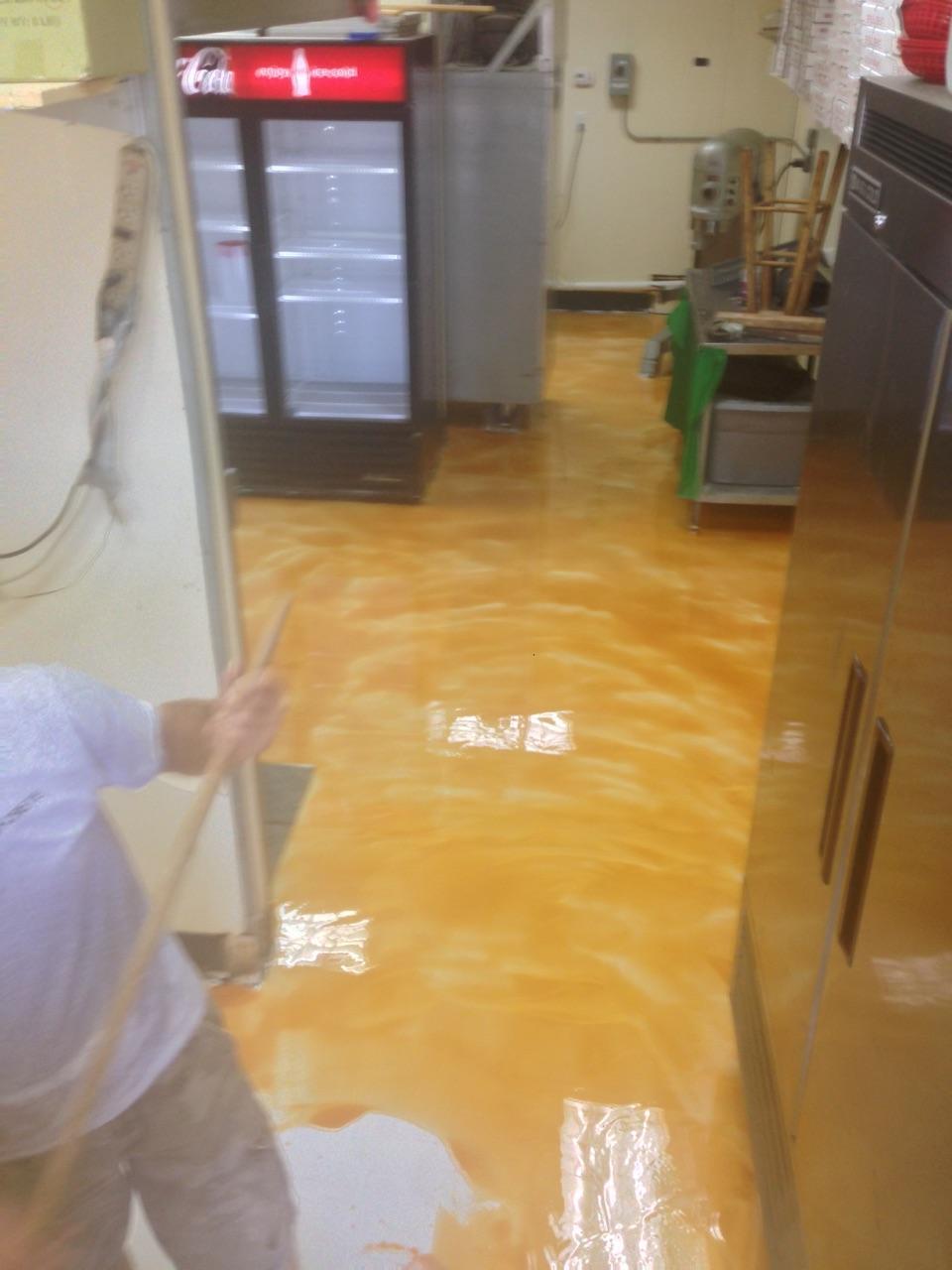 Restaurant kitchen floor