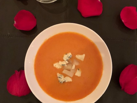 Fire-Roasted Red Pepper Soup with Pears and Stilton