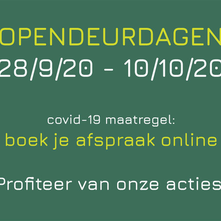 Opendeurdagen september - oktober op afpraak