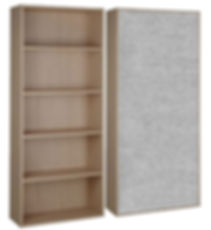 A light grey noisestop acoustic wall panel fitted to the back of a bookcase