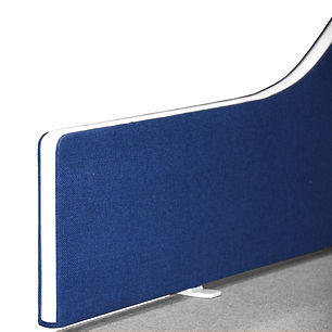 Desktop divider showing the radius corner on a wave top desk screen in blue fabric