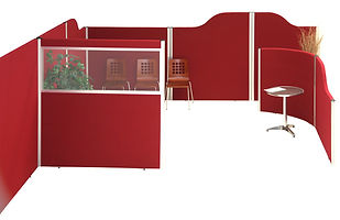 Jubilee acoustic office dividers in red office glazed & curved sound absorbing panels