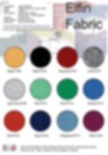 Elfin office screen fabric card showing 12 fabric colours, a plain weave panel fabric for office screen manufacturing