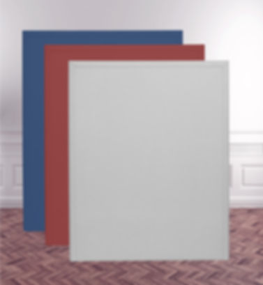 3 floor noisestop acoustic panel in grey, red and royal blue fabric in large room setting