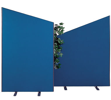 2 fabric panels UK made in blue fabric with angle tops and a ficus benjamina plant in the middle