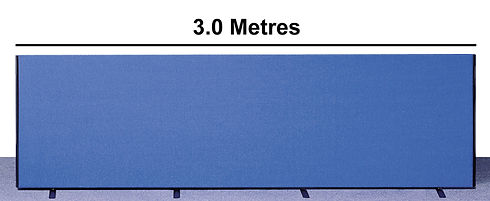 300cm long custom made office divider in blue fabric showing 4 screen feet on 1 office screen