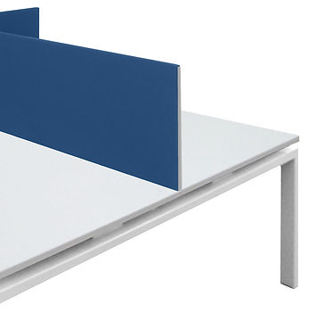 2 budget desk screens in blue fabric on a white desk, bulk desk screen for internet sales
