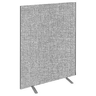 A floor screen in light grey fabric standing on its own screen feet