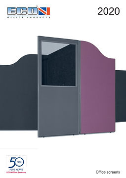 ECO office screen manufacturer catalogue front cover showing 2 acoustic booths in mauve fabric