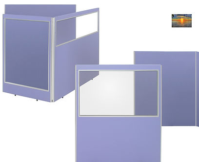 5 Perspex office screens in light blue fabric showing a top vision, half vision & full vision office screens