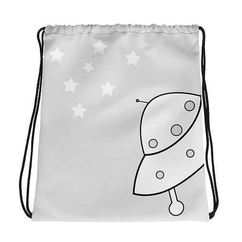 Gray Believe Drawstring bag