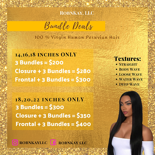 Bundle Deal (14,16,18 inches ONLY)