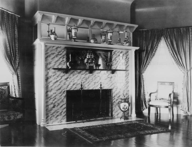 L.C. Hanna Residence, Interior View of Fireplace