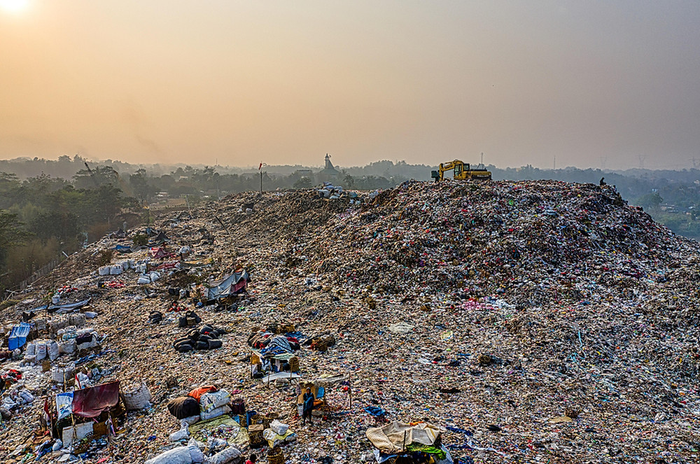 Heaps of trash in South Tangerang, Indonesia.
