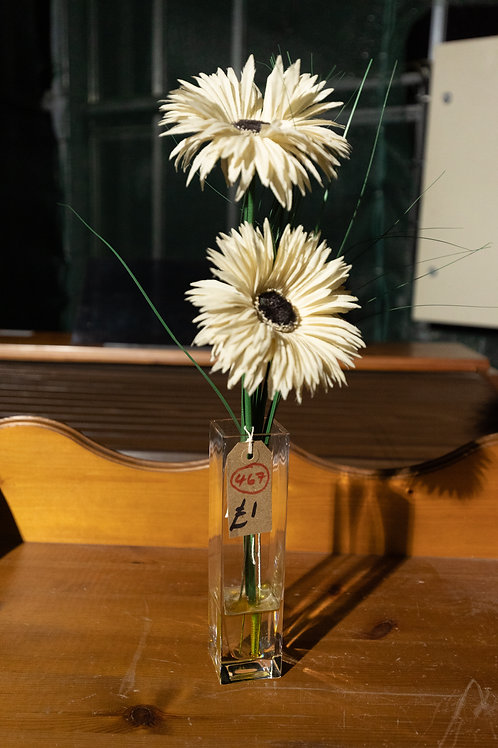 467. Glass Vase and Artifical Flowers.