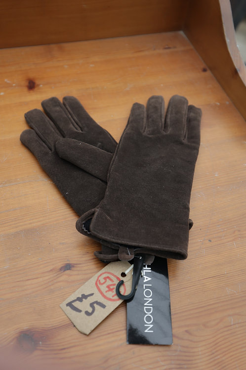 """541. Leather Suede Ladies Gloves. """"HLA London"""" size 7.5. Brand new."""