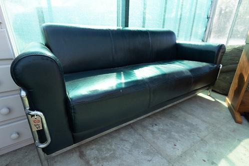 3. Chrome / Black Leather three seatersofa.