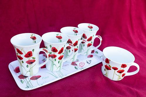 233. Tray, 4 x Coffee Cups, Large mug.