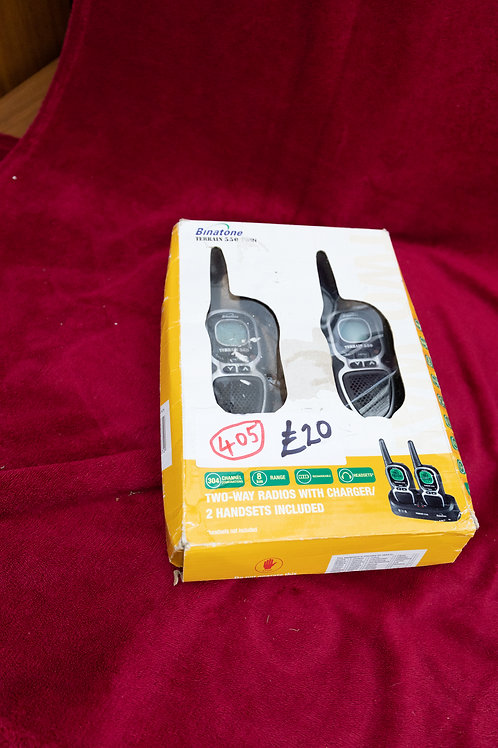 """405. """"Binatone"""" 2 x two way radio, handsets and charger. (Up to fivemilescover"""