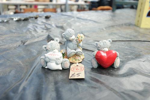"563. Three piece ""Teddy Bears"" Ornaments"