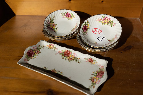 """360. 6 X """"Old Foley"""" Dishes and Sandwich Tray."""