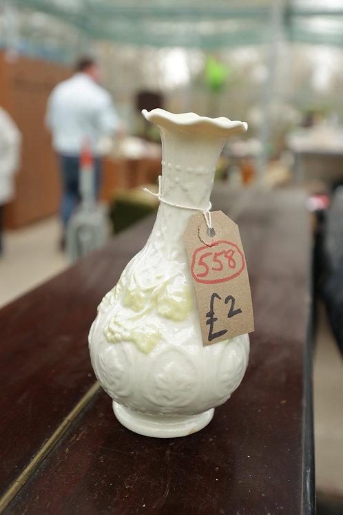 """558. """"Belleek"""" Vase. Slight crack. Green mark"""