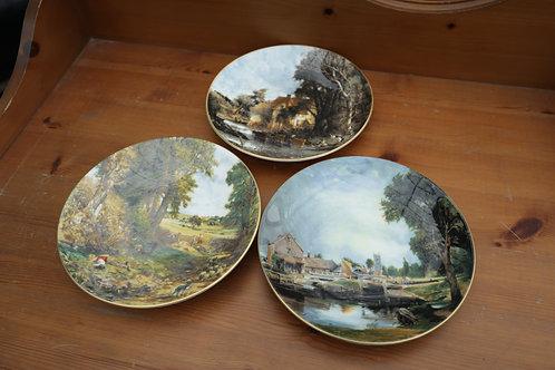 """518. 3 x Decorative Plates. Coalport """"John Constable"""" Views"""