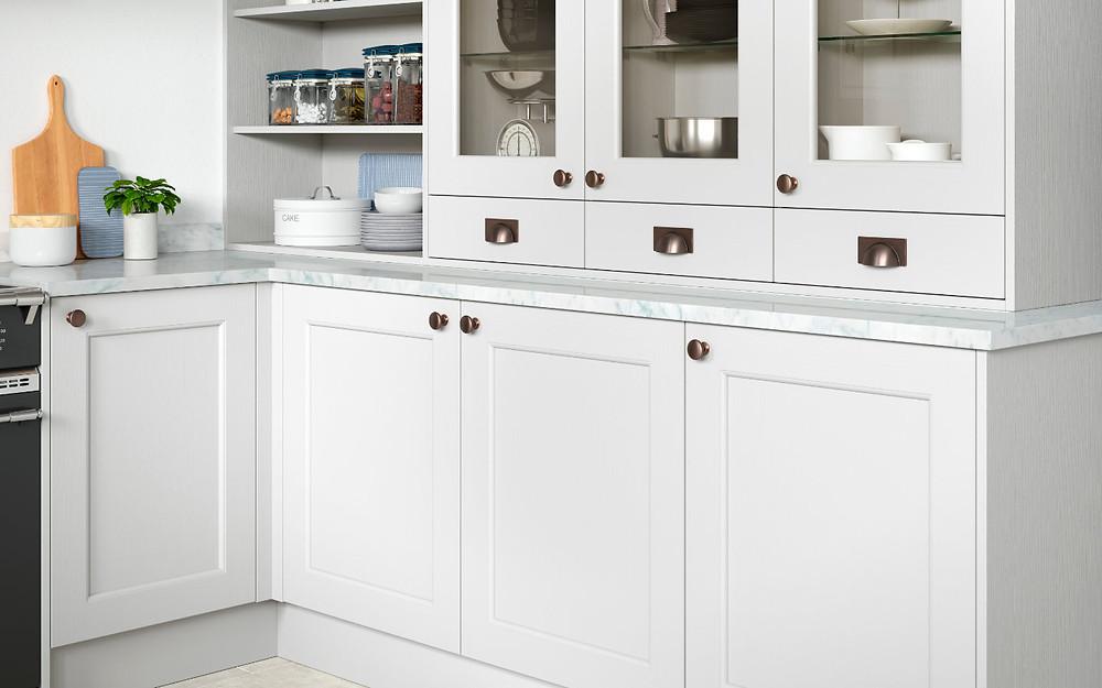 The Allesstree kitchen range in white. Traditional kitchen. Glass door, kitchen door