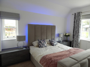 Bed with, built in TV and customer headboard lighting