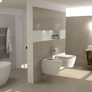 Modern Bathroom in Cream and Grey