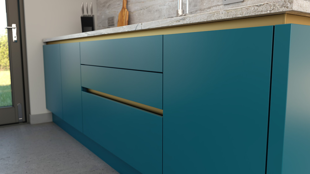The cosdon range, Kitchen Design, Paradise Blue & Rose Gold Gola