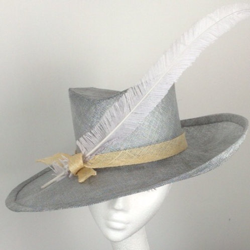 Silver hat with ostrich feather