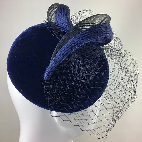 Navy velvet swirl hat