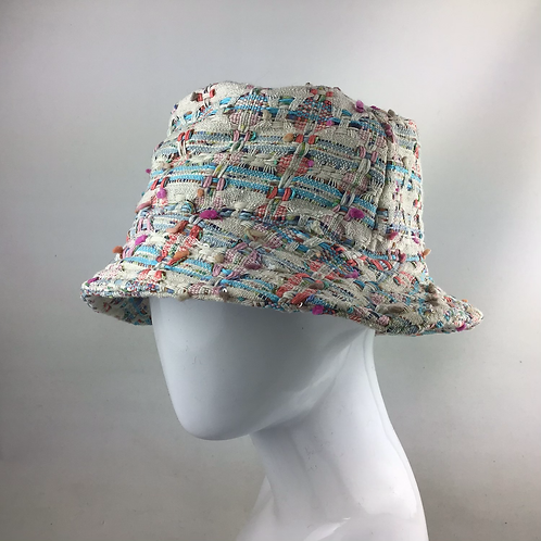 Pale pink Linton tweed bucket hat