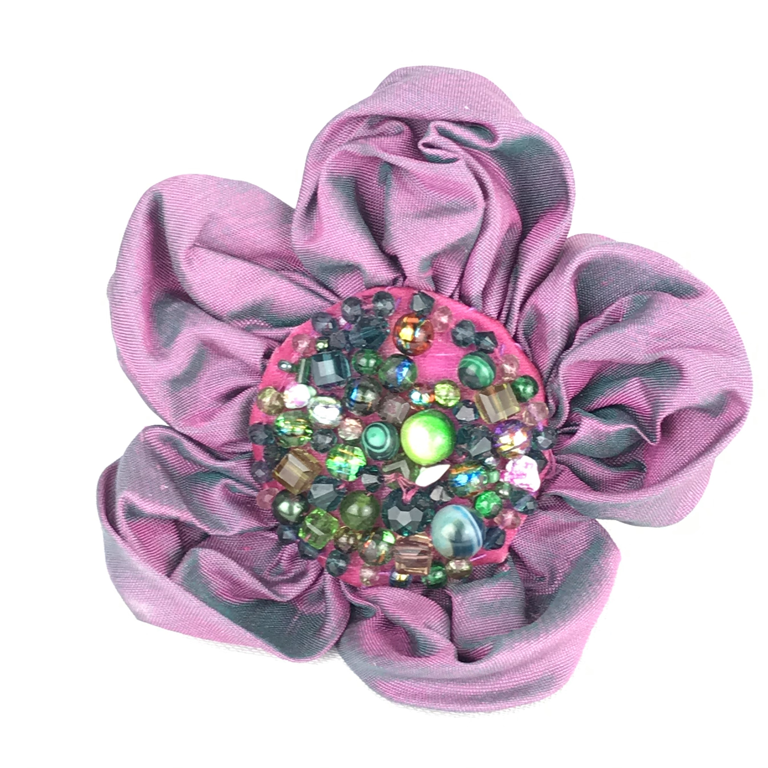 silk beaded hair clip