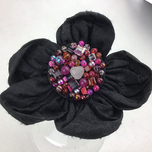 Rose quartz and black flower clip