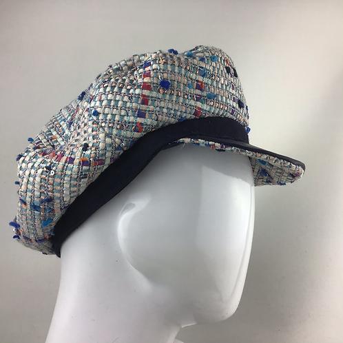 Blue Linton tweed Fiddler cap
