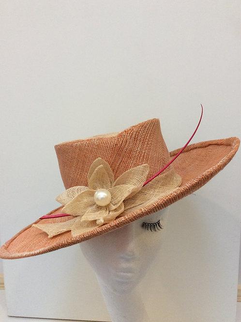 Orange sinamay hat