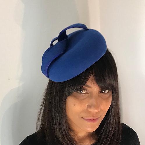 Royal blue felt beret cocktail hat