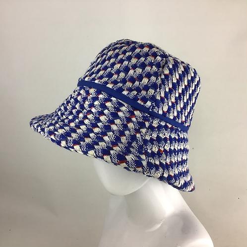 Royal blue Linton tweed extended bucket hat