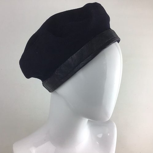 Navy cashmere and leather beanie beret